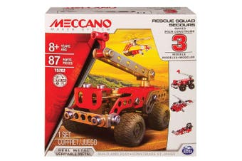 Meccano 3 Model Set Kids/Children Rescue Truck Vehicle Toy 8y+ Fire Engine Red