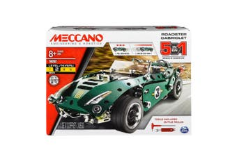 Meccano 5 Model Pull Back Car Roadster Cabriolet Kids/Child 8y+ Vehicle Toy GRN