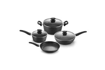 7pc Stone Magic Non-Stick Cookware Pot & Pan Set w/Lid for Induction/Gas Top