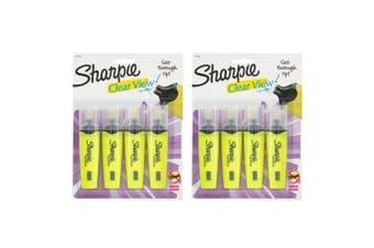 8PK Sharpie Clear View Highlighter Office/School Pen Marker Writing Yellow