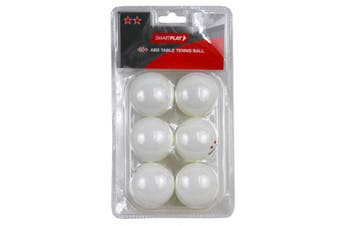 6pc Smartplay 2 Star Table Tennis Plastic Ball 40+ ABS Ping Pong Game White