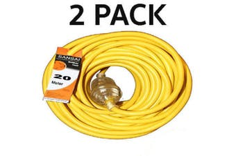 2PK Sansai 20m Heavy Duty Extension Cord/Lead Light Indicator Indoor/Outdoor