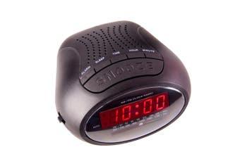 Laser Digital Alarm Clock w/AM FM Radio/Snooze Button/Battery Power Backup Black