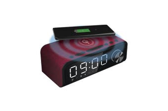 Laser 4-in-1 Digital Alarm Clock Radio w/Qi Charging/Bluetooth Speaker/Mic Red