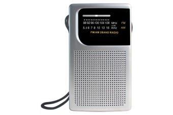 Laser Pocket Travel Portable AM/FM Radio w/Strap/3.5mm Audio Jack/Speaker Silver