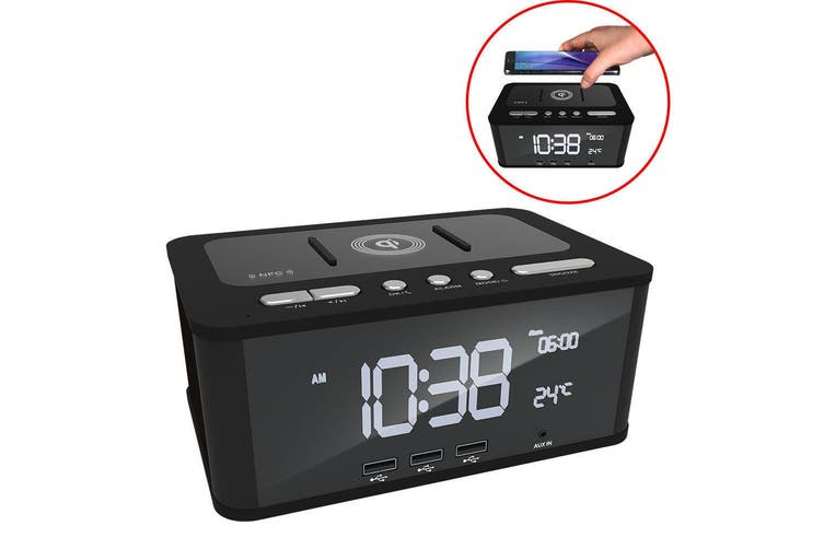 Laser FM Radio/AUX Bluetooth/NFC Speaker/3x USB Charger/Qi Wireless Charging