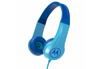 Motorola Kids Wired Over-Ear Headphones w/ In-line Mic/3.5mm Audio Splitter Blue