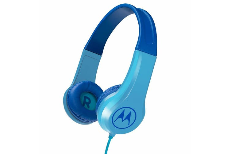 Motorola Kids Wired Over-Ear Headphones w/ In-line Mic/3.5mm Audio Splitter Blue