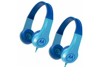 2PK Motorola Kids Safe Wired Over-Ear Headphones w/Mic/3.5mm Audio Splitter Blue