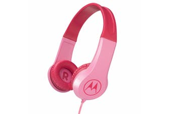 Motorola Kids Wired Over-Ear Headphones w/ In-line Mic/3.5mm Audio Splitter Pink