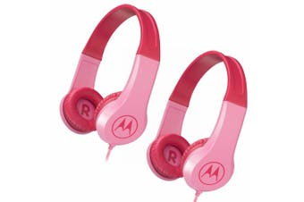 2PK Motorola Kids Safe Wired Over-Ear Headphones w/Mic/3.5mm Audio Splitter Pink