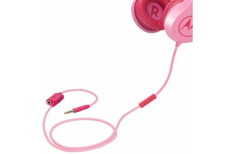 2PK Motorola Kids Safe Wired Over-Ear Headphones w/Mic/3.5mm Audio Splitter Pink
