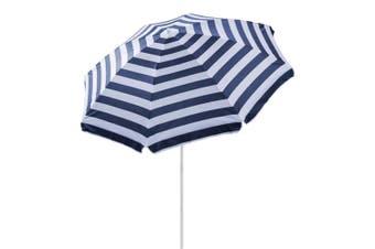 Summer Society 1.8m Beach Umbrella Pool Sun Shade w/ Carry Bag Navy Blue Stripe