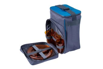 Summer Society 2 Person Picnic Cooler Bag Set Cutlery/Plates/Spoons Blue/Grey