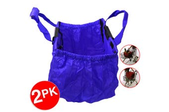 2PK Multi Purpose Clip + Carry Bag for Shopping Trolley Waterproof Compact Blue