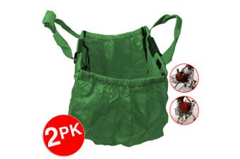 2PK Multi Purpose Clip + Carry Bag for Shopping Trolley Waterproof Compact Green