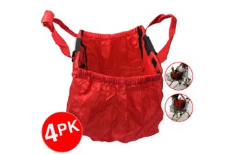 4PK Multi Purpose Clip + Carry Bag for Shopping Trolley Waterproof Compact Red
