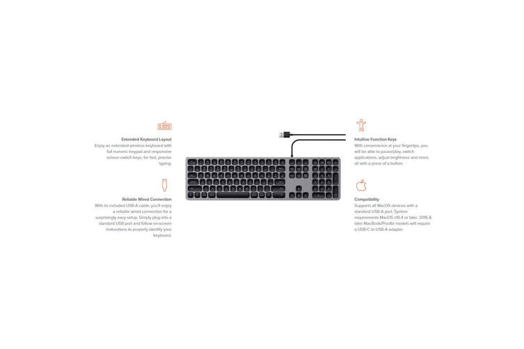 Satechi USB-A Wired Keyboard for PC Desktop Apple Mac/MacBook Air/Pro Space Grey
