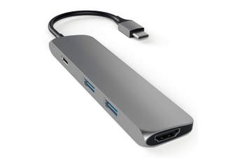Satechi USB-C Male Slim Multi-Port Adapter/Hub w/4K HDMI/USB 3.0 Ports Space GRY