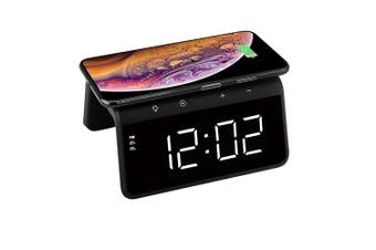USB 5V 10W QI Wireless Charger RGB LED Night Light  w/Dual Alarm Clock Black