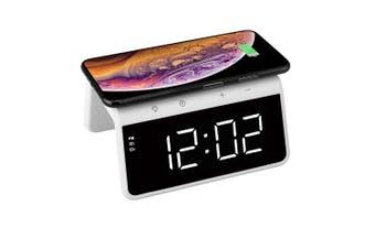 USB 5V 10W QI Wireless Charger RGB LED Night Light  w/Dual Alarm Clock White