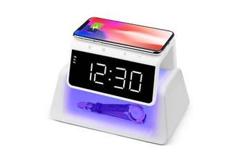 Rewyre Alarm Clock USB-C 5V 10W Qi Wireless Charger/UV Disinfection Lamp White