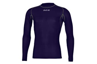 Mitre Neutron Base Layer Navy Compression LS Top Size LY 10-12Y Kids Sportswear
