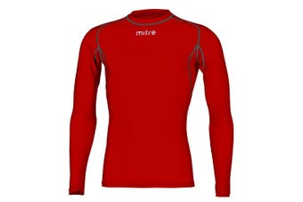 Mitre Neutron Base Layer Scarlet Compression LS Top Size MD Mens Gym/Sportswear