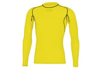 Mitre Neutron Base Layer Yellow Compression LS Top Size MD Mens Gym/Sportswear