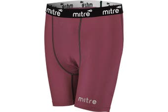 Mitre Neutron Compression Shorts Size MY 8-10y Kids Unisex Sports Tights Maroon