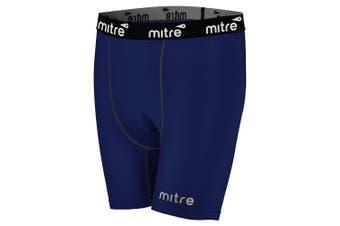 Mitre Neutron Compression Shorts Size SM Men Sports Activewear/Gym Tights Navy