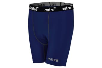 Mitre Neutron Compression Shorts Size SY 5-7y Kids Unisex Sports Tights Navy