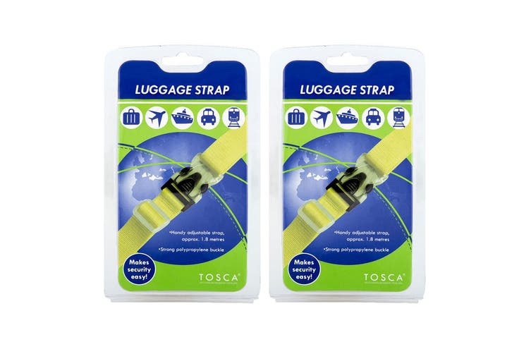 2PK Tosca 1.8m Adjust. Luggage Strap Baggage/Travel Suitcase Lock/Secure Belt YW