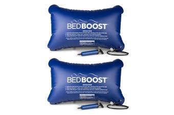 2PK Bed Boost Adjustable/Inflatable Mattress Sleep/Comfort Support/Cushion Blue
