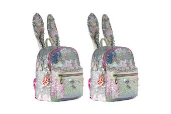 2x Glitter Critters Catch Me Sequin Kids Backpack w/Compartments/Straps Bunny