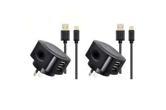 2x Sansai Dual USB AC Wall Charger Adapter w/Type C Syncharge Cable for Phone BK
