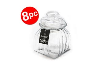 8PK LimeLight 600ml Kitchen Food Storage/Container Glass Canister Clear w/ Lid