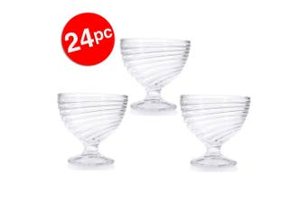 24pc Lemon & Lime 300ml Ice Cream Sundae/Desserts Cups Round Glasses Bowl Clear