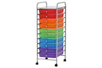 BoxSweden Home/Office Organiser 10 Drawers Storage Trolley w/Wheels Muti-Colour