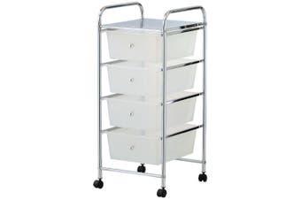 Box Sweden Home/Office Organiser 4 Drawers Storage Metal Trolley w/ Wheels White
