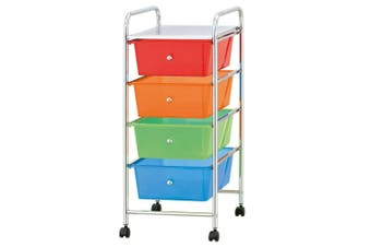 Box Sweden Portable 4 Drawers Storage/Office Organiser w/ Wheels Multicoloured