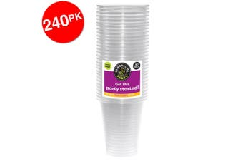 240PK Lemon & Lime 300ml Reusable Plastic Cups Drinking Water Party Cup Clear