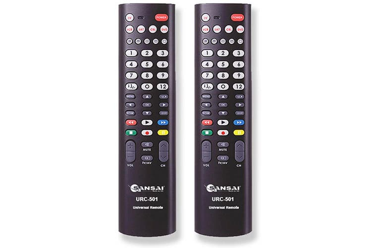 2PK Sansai 5in1 Universal TV Remote Replacement for Television/VCR/SAT/CBL/DVD