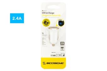 Scosche reVOLT 12W 2.1A USB Car Charger/Fast Charging f/ Smartphones/Tablets