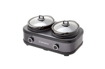 Westinghouse Stainless Steel Electric Slow Cooker w/2x 2.5L Ceramic Pots Black