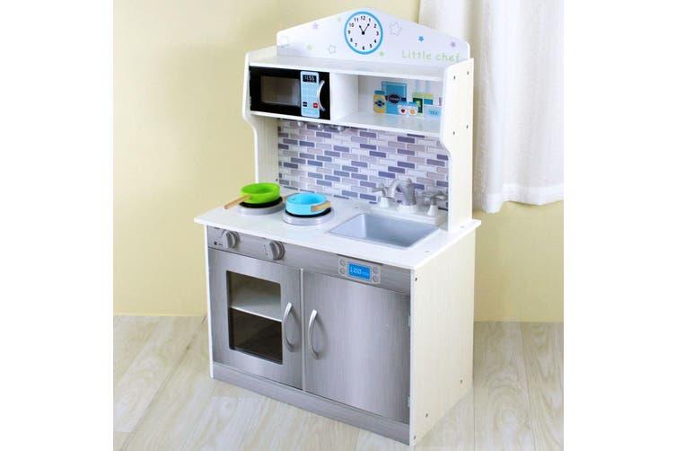 Gem Toys 94cm Kids Wooden Kitchen Playset w/Oven/Pots/Dishwasher/Microwave Grey
