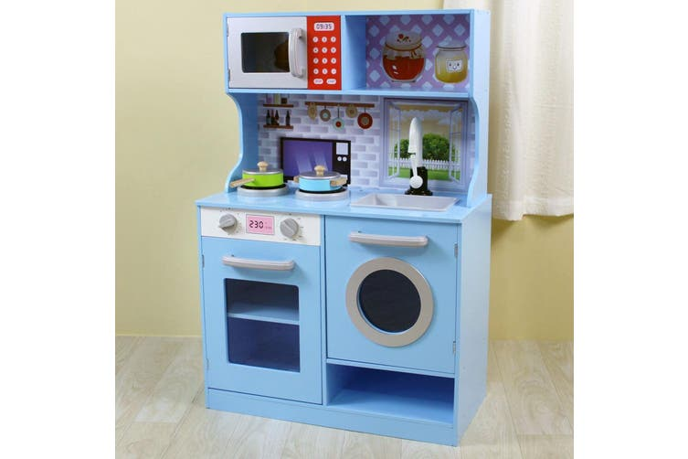Gem Toys 90cm Kids Wooden Kitchen Playset w/Oven/Sink/Dishwasher/Microwave Blue