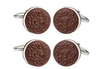 4pc SD Man Biscuit Men's Cloth Wedding/Party Cufflinks Shirt Accessories Brown