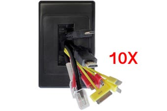 10x Wall Plate Wallplate Brush Outlet Management Cable Tidy Organiser Black