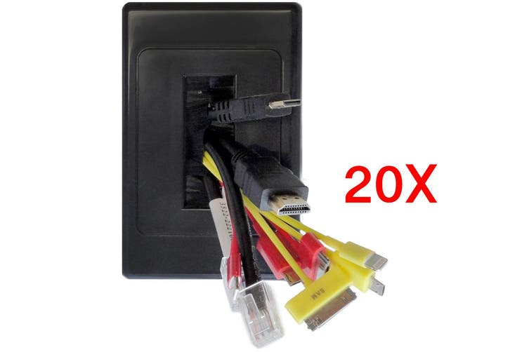 20x Wall Plate Wallplate Brush Outlet Management Cable Tidy Organiser Black
